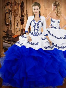 Flirting Blue Satin and Organza Lace Up Strapless Sleeveless Floor Length Quince Ball Gowns Embroidery and Ruffles