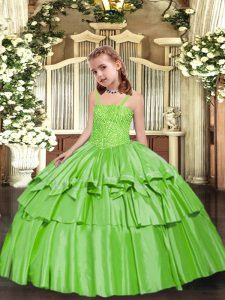 Sleeveless Floor Length Beading and Ruffled Layers Lace Up Pageant Gowns For Girls with Yellow Green