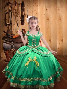 Turquoise Lace Up Off The Shoulder Beading and Embroidery Little Girls Pageant Gowns Satin Sleeveless