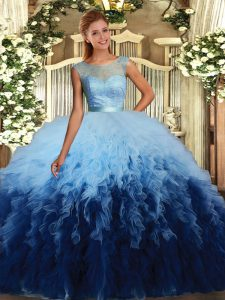Romantic Scoop Sleeveless Organza 15th Birthday Dress Lace and Ruffles Backless