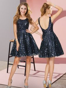 Adorable Sequined Sleeveless Mini Length Damas Dress and Sequins
