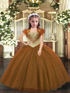 Floor Length Brown Girls Pageant Dresses Straps Sleeveless Lace Up