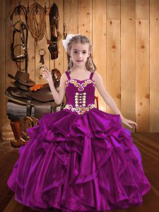 Fuchsia Child Pageant Dress Sweet 16 and Quinceanera with Embroidery and Ruffles Straps Sleeveless Lace Up