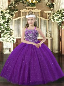 Floor Length Purple Child Pageant Dress Tulle Sleeveless Beading