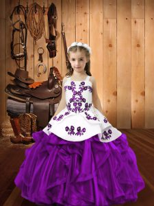 Eggplant Purple Sleeveless Embroidery and Ruffles Lace Up Little Girls Pageant Dress