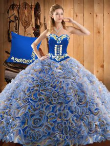 Fashionable With Train Multi-color Quinceanera Dresses Sweetheart Sleeveless Sweep Train Lace Up