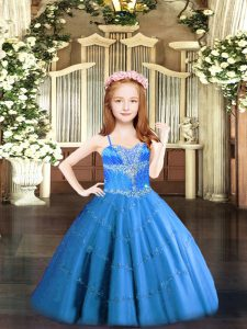 Modern Baby Blue Sleeveless Tulle Lace Up Pageant Dress for Girls for Party and Quinceanera