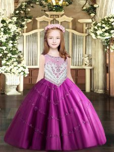 New Style Floor Length Zipper Little Girls Pageant Dress Wholesale Fuchsia for Party and Quinceanera with Beading and Appliques