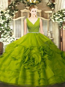 Simple Floor Length Ball Gowns Sleeveless Olive Green 15th Birthday Dress Zipper