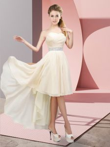 Chiffon Sleeveless High Low Dama Dress for Quinceanera and Beading