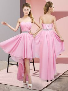 Sleeveless Lace Up High Low Beading Court Dresses for Sweet 16