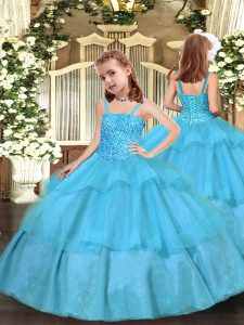 Fancy Aqua Blue Lace Up Straps Beading and Ruffled Layers Little Girls Pageant Dress Organza Sleeveless
