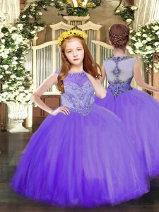 Elegant Lavender Sleeveless Tulle Zipper Girls Pageant Dresses for Party and Quinceanera