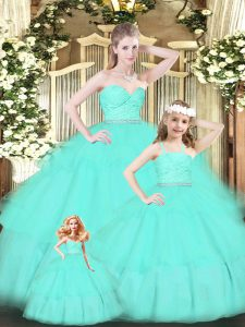 Romantic Apple Green Ball Gowns Organza Sweetheart Sleeveless Lace and Ruffled Layers Floor Length Zipper 15 Quinceanera Dress