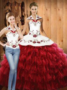 Simple Red Sleeveless Embroidery and Ruffled Layers Floor Length Sweet 16 Dresses