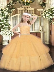 Adorable Orange Organza Zipper Child Pageant Dress Sleeveless Floor Length Beading and Lace and Ruffled Layers