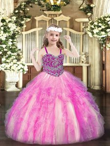 Affordable Straps Sleeveless Girls Pageant Dresses Floor Length Beading and Ruffles Rose Pink Organza