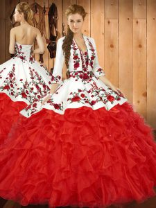 Sumptuous Red Sleeveless Floor Length Embroidery and Ruffles Lace Up Sweet 16 Dresses