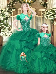 Cheap Sweetheart Sleeveless Lace Up Sweet 16 Dress Green Organza