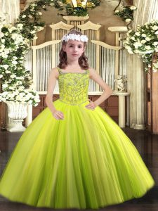Yellow Green Lace Up Kids Pageant Dress Beading Sleeveless Floor Length