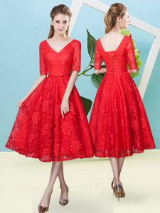 Enchanting V-neck Half Sleeves Lace Court Dresses for Sweet 16 Bowknot Lace Up