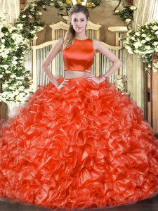 High-neck Sleeveless Criss Cross 15 Quinceanera Dress Red Tulle