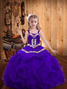 Straps Sleeveless Lace Up Child Pageant Dress Eggplant Purple Organza