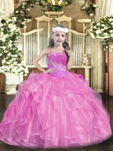 Sleeveless Organza Floor Length Lace Up Girls Pageant Dresses in Lilac with Beading
