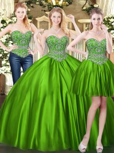 Green Ball Gowns Beading Quince Ball Gowns Lace Up Tulle Sleeveless Floor Length