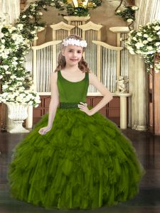 Inexpensive Sleeveless Organza Floor Length Zipper Little Girl Pageant Dress in Olive Green with Beading and Ruffles
