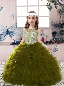 Olive Green Tulle Lace Up Scoop Sleeveless Floor Length Little Girls Pageant Dress Wholesale Beading and Ruffles