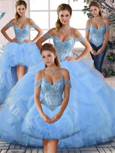 Hot Sale Lace Up Beading and Ruffles Sweet 16 Dresses