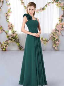 Edgy Peacock Green Straps Lace Up Hand Made Flower Quinceanera Court of Honor Dress Sleeveless