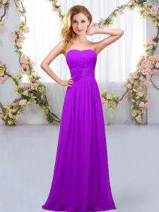 Ideal Floor Length Purple Dama Dress Sweetheart Sleeveless Lace Up