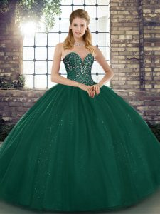 Fine Floor Length Lace Up Quinceanera Dress Peacock Green for Military Ball and Sweet 16 and Quinceanera with Beading