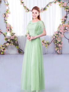 High Class Apple Green Scoop Neckline Lace and Belt Court Dresses for Sweet 16 Short Sleeves Side Zipper