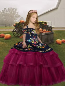 Elegant Floor Length Ball Gowns Sleeveless Fuchsia Little Girl Pageant Dress Lace Up