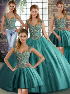 Beautiful Straps Sleeveless Lace Up Quinceanera Dresses Teal Tulle