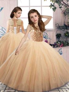 Cute Sleeveless Floor Length Beading Lace Up Little Girl Pageant Gowns with Champagne