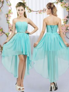 Fashionable Sleeveless Chiffon High Low Lace Up Vestidos de Damas in Aqua Blue with Beading