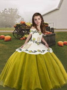Trendy Olive Green Organza Lace Up Straps Sleeveless Floor Length Little Girls Pageant Gowns Embroidery