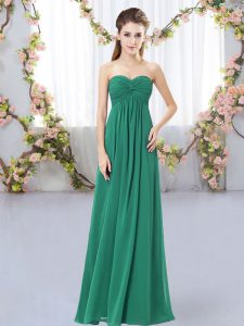 Charming Sleeveless Chiffon Floor Length Zipper Quinceanera Dama Dress in Dark Green with Ruching