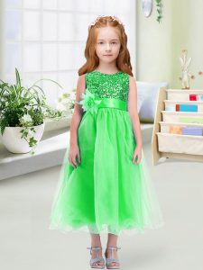 Organza Scoop Sleeveless Zipper Sequins and Hand Made Flower Little Girl Pageant Gowns in Green