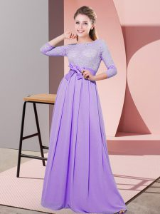 Lavender Side Zipper Quinceanera Court of Honor Dress Lace and Belt 3 4 Length Sleeve Floor Length