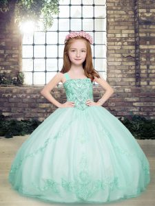 Straps Sleeveless Little Girl Pageant Dress Floor Length Beading Apple Green Tulle