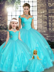Top Selling Sleeveless Floor Length Beading and Appliques Lace Up Quinceanera Dress with Aqua Blue