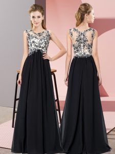 Stunning Chiffon Scoop Sleeveless Zipper Beading and Appliques Quinceanera Court of Honor Dress in Black