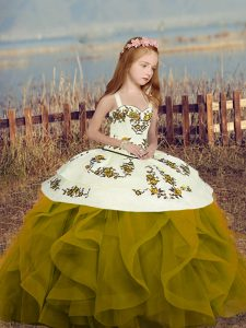 Olive Green Sleeveless Floor Length Embroidery and Ruffles Lace Up Little Girls Pageant Gowns