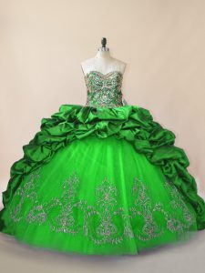 Green Sleeveless Brush Train Beading and Pick Ups Quince Ball Gowns