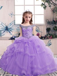 Tulle Sleeveless Floor Length Little Girl Pageant Dress and Beading and Ruffles